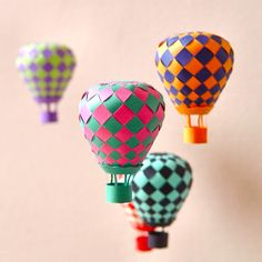 10 DIY paper craft projects - Balloons, paper garlands, bracelet, star, tassel garland, paper fan, wings, and a house box