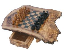 chess: natural olive wood  chess board / wood by wodenCraftGift