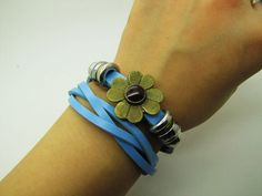 Blue  fashion Adjustable leather Woven Bracelets by sevenvsxiao, $8.00