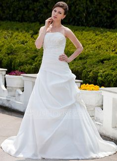 Wedding Dresses - $179.99 - Ball-Gown Strapless Chapel Train Taffeta Wedding Dress With Ruffle Lace Beadwork (002001343) http://jjshouse.com/Ball-Gown-Strapless-Chapel-Train-Taffeta-Wedding-Dress-With-Ruffle-Lace-Beadwork-002001343-g1343?ves=vnlx6&ver=hd8yk