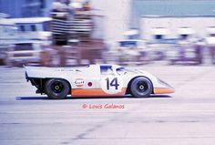The John Wyer Gulf Porsche 917 that failed to finish at Sebring in 1970.  Jo Siffert, Brian Redman and Leo Kinnunen are credited with driving the car.  Both this car and the other team 917 suffered from faulty wheel hubs that most believe resulted in failing to win at Sebring in 1970.