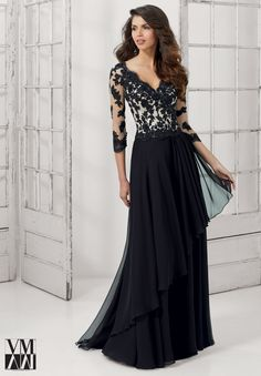 Dress for evening ware, cocktail dresses or social occasions by VM Collection Chiffon with Beaded Lace Appliques on Net Available in Royal/Nude, Black/Nude, Gold, Sky.