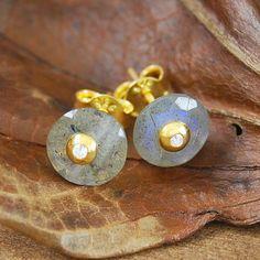 Labradorite and Aqua Chalcedony Gold White by EmbersJewelleryShop