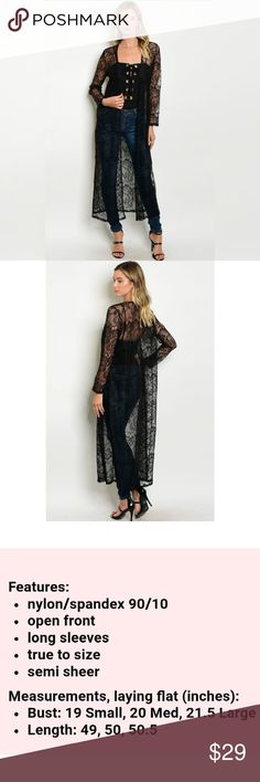 Long Lace duster cardigan open front black Sorry, NO TRADES Price firm unless bundled Sofi + Sebastien Sweaters Cardigans