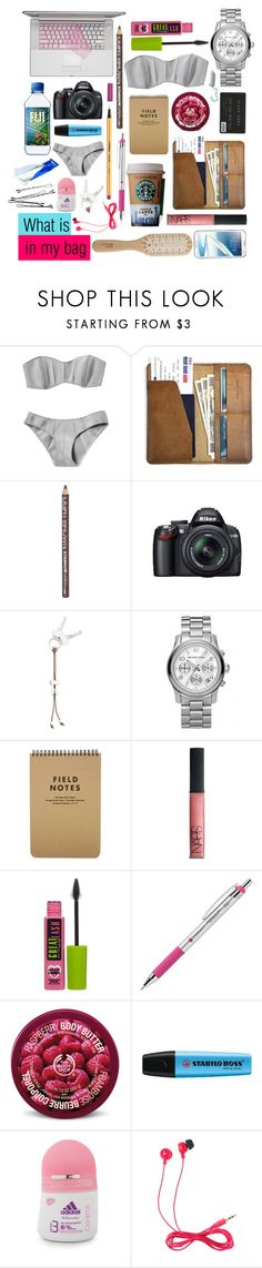 """What is in my bag 21/06/13"" by greatsunshine ❤ liked on Polyvore featuring Lisa Marie Fernandez, CO, H&M, Nikon, Georg Jensen, Michael Kors, NARS Cosmetics, Maybelline, The Body Shop and Samsung"