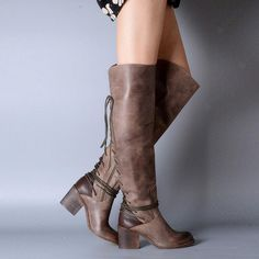 Cheap shoe, Buy Quality shoes cords directly from China shoes bebe Suppliers: New Fashion Winter Women Boots Knee High Boots Platform Genuine Leather Martin Motorcycle Boots Women's Shoes Botas Leather Over The Knee Boots, Knee High Boots, Leather Boots, Flat Boots, Grey Leather, Vintage Leather, Womens Block Heel Shoes, Block Heels, Lace Up Riding Boots