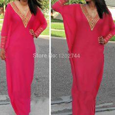 Robe de festa 2015 New Sexy col en V or perles Fuschia en mousseline de soie à manches longues arabe marocain forma dubaï kaftan robe de soirée(China (Mainland))