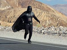 Apparently this crazy guy ran through Death Valley dressed as Darth Vader. I wonder at what point he passed out?