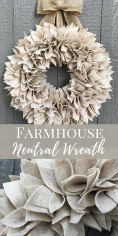 Neutral Felt Wreath | Neutral Home Decor | Farmhouse Wreath | Minimalist | Fall Wreaths | Thanksgiving Decor | Year Round Wreaths #affiliate