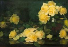 """Green and Yellow Roses"" By James Stuart Park, from Scotland - - oil on canvas; 50 x 76 cm - Hunterian Art Gallery, University of Glasgow . White Roses, Yellow Flowers, James Stuart, Victorian Paintings, Glasgow School Of Art, Birth Flowers, Green Park, Rose Art, Great Artists"