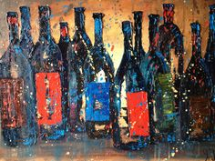 "Jodi Monahan Artistry on FB Page. "" Uncorked Dozen ""18x24 oil on canvas Donated to GSA Wine and Beer Festival. 2013 https://www.facebook.com/pages/Jodi-Monahan-Artistry/111895475495265"