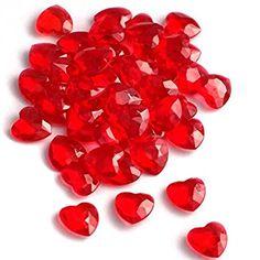 SiDeSo® Dekosteine Herzdiamanten Herzen rot 100 Stück Acryl Tischdeko Streudeko Hochzeit