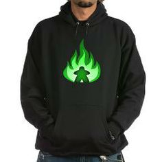 Fire Meeple Green Hoodie> Fiery Meeple Green> Meeple Hut