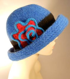 Royal Blue Felted Hat with Brim by yoursbydesign on Etsy, $69.00