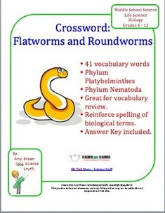 FREE!!   This crossword puzzle has 41 terms that are commonly used in a unit on flatworms and roundworms, the phyla Platyhelminthes and Nematoda. My students love to review in this way. It helps to reinforce concepts and vocabulary used when teaching this material. I particularly love that it helps students practice their spelling!