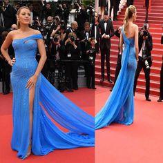 Black Lively Celebrity Inspired Blue Chiffon Shinny Side Slit Mermaid Prom Dresses, PD0257