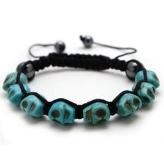 Bleek2Sheek Men's or Women's Turquoise Skull Macrame Shamballa Inspired Bracelet Bleek2Sheek Jewelry. $13.50. Chain: Macrame Cord. Style: Shamballa Bangle. Bead shapes: Skull Head measuring 15mm each. Adjustable length of 7 - 11 inches. Bead colors: Turquoise Blue. Save 36%!