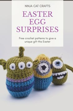 Suitable for all abilities, these simple patterns show step by step how to create an egg cosy/cover for your Easter treats. Featuring Toy Story, Minions, Monsters Inc and more. There's even a few for the Studio Ghibli fans out there. Easter Egg Crafts, Easter Treats, Easter Eggs, Minion Eggs, Minions, Mike From Monsters Inc, Free Crochet, Crochet Hats, Toy Story Alien