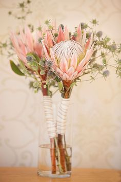 Wedding Flower Bouquets King protea and blue thistle make for such a gorgeous bouquet, see more from Elle Jae here. Flor Protea, Protea Bouquet, Protea Flower, Blue Bouquet, Flower Bouquets, Thistle Wedding, Protea Wedding, Floral Wedding, Gardens