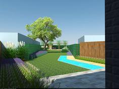 Achtertuin met schuine as, twee terrassen waarvan één aan huis en één achteraan in de tuin, vijver en gebroken door groen. Aan keuken een kleine binnentuin.