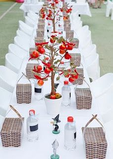 Miniature apple tree centerpieces - great for Apple of my Eye baby shower theme