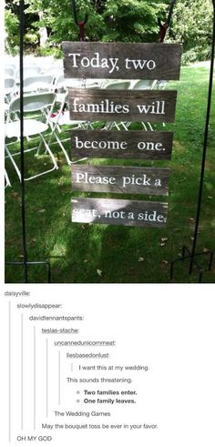 """Hunger games wedding. """"Two families enter. One family leaves."""" This is awesome."""