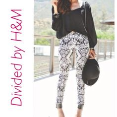"""H&M Divided Black White Print Leggings Pants Sz 8 H&M Geometric Leggings  Size 8  Skinny Style  Black and white pattern overall  Excellent Condition  Measurements:  Inseam 30""""  Waist (through belt loops) 31""""  Rise 9""""  Original price $40.00   ❀ ❀ ❀ Thanks for looking & check out my other listings! I offer a 20% bundle discount :) ❀ ❀ ❀ H&M Pants Leggings Print Leggings, Leggings Are Not Pants, White Jeans Outfit, White Patterns, Jean Outfits, Fashion Design, Fashion Tips, Fashion Trends, Harem Pants"""