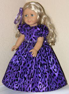 American Girl Doll Clothes - Holiday Christmas Dress, Pantalettes and Hair Ribbon - Purple Flocked Taffeta
