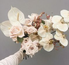 Stunning Ingredients In This Hand Tied Wedding Bouquet: Anthurium, Roses, Phalaenopsis Orchids, Orchids