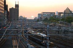 天王寺駅付近から眺めたJR線 View of West Japan Railway lines, Tennoji, Osaka, Japan