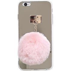 Mirrored Iphone 6/6s Plus Pom Case ($15) ❤ liked on Polyvore featuring accessories, tech accessories and rose gold