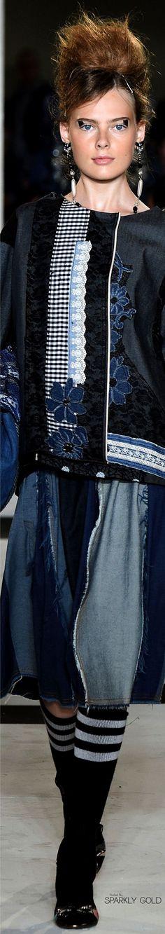 Antonio Marras S-17 RTW: denim & gingham patchwork ensemble.
