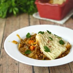 Mushroom and Lentil Cottage Pie with a Root Vegetable Topping. Comfort food without all the extra fat.