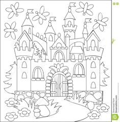 Black And White Illustration Of Fairyland Medieval Castle For Coloring. Stock Vector - Illustration of cartoon, book: 73438298 Castle Coloring Page, Abc Coloring Pages, Adult Coloring, Coloring Books, 100 Day Of School Project, Back To School Crafts, Black And White Illustration, Medieval Castle, Disney Crafts