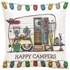 Christmas Decoration Style Pillow Happy Campers Cartoon Throw Pillow Cushion Cover Touring Car Printing Throw Pillow Pillowcase