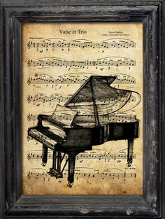Print Art Collage Mixed Media Saxophone Jazz Illustration Poster on Vintage old Beutiful Reproduction Music Sheet  Paper