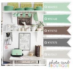 Color Crush Palette · Photo Card Boutique is awesome! Shower Inspiration, Color Inspiration, Colour Schemes, Color Combos, Colour Palettes, Kitchen Colors, Bathroom Colours, Mint Bathroom, Coastal Living Rooms