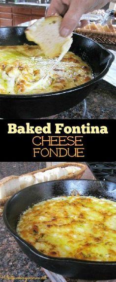 Baked Fontina Cheese Fondue Recipe   whatscookingamerica.net   #fontina #cheese…