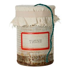 Repurposed tin can twine dispenser via Knick of Time Candle Jars, Mason Jars, Mason Jar Garden, Kitchen Twine, Kitchen Dining, Embroidery Transfers, Vintage Embroidery, Burlap, Gadgets