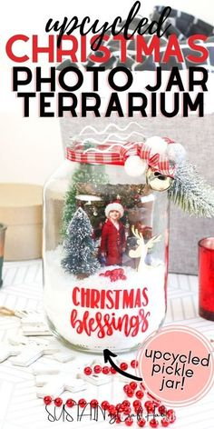 Turn an empty glass pickle jar into an adorable Christmas terrarium perfect for displaying your Christmas blessings.