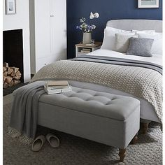 Love the color scheme & feel of this bedroom. Blue, white and grey. Fireplace bench. Home decor blogger. Interior decorating. Home decor