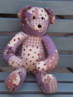 Dark Pink Teddy Bear Handmade from printed Patchwork cotton