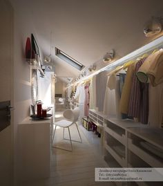 Holy Moly- awesome walk in closet for attic. Love the lighting and built in vanity. Great use of low ceiling space. Holy Moly- awesome walk in closet for attic. Love the lighting and built in vanity. Great use of low ceiling space. Attic Loft, Loft Room, Attic Rooms, Attic Spaces, Closet Bedroom, Attic Office, Garage Attic, Loft Closet, Attic Library