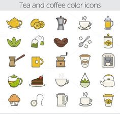 Tea and coffee. 25 icons. Vector  @creativework247