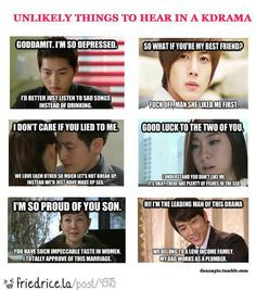 Korean Dramas so true tho. Esp the last one. Boys Over Flowers, Korean Drama Funny, Korean Drama Quotes, Moorim School, Ji Hoo, Korean Shows, Drama Fever, All Meme, Kdrama Memes