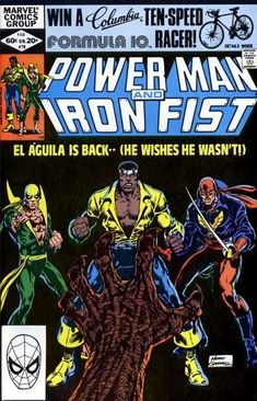 """appearance of Sabretooth (as """"Slasher""""). Guest-starring Daughters of the Dragon and El Aguila. Story by Mary Jo Duffy. Art by Kerry Gammill and Ricardo Villamonte. NOTE: For the reveal of his identity see Power Man and Iron Fist Iron Fist Powers, Iron Fist Comic, Luke Cage Iron Fist, Luke Cage Marvel, Misty Knight, Heroes For Hire, Comic Book Collection, Power Man, Marvel Series"""