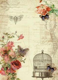 Astrids Artistic Efforts: Free paper printables for paper backgrounds, post cards, gift tags, etc Vintage Labels, Vintage Ephemera, Vintage Cards, Vintage Paper, Vintage Postcards, Decoupage Vintage, Floral Vintage, Vintage Prints, Collage Vintage