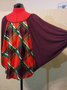 BUY IT NOW!  #fashion #recycled Silk & Rayon Batwing Blouse Knit Top Voom Size Small Burgundy & Plaid  | eBay