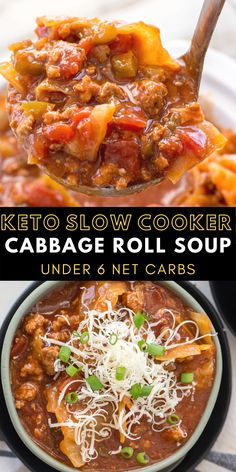 This Slow Cooker Cabbage Roll Soup is the perfect easy keto soup! At just under 6 net carbs and packed with meat and vegetables this is a low carb soup you'll enjoy all season long!  #keto #slowcooker