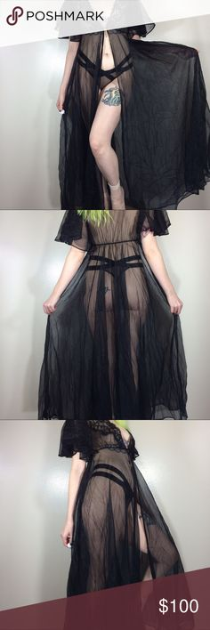 """Vintage Sheer Black Maxi Lace Robe Made in USA 🇺🇸 Tagged Small. 100% Nylon. The sleeves & lace detailing are soo gorgeous! 😍 Elastic waist. Front tie closure. There are picks in the fabric. Still in amazing vintage condition! 🖤🖤🖤 80's 90's  Length - Approximately 53""""  *I'm not responsible for the fit of an item*  🚫 I don't discuss prices through comments, please use the offer button!  ⚡️ I ship everyday 📬 All packages handled with care 📦 Bundle 2+ items for a discount ❌ I don't…"""
